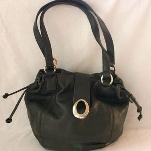 OROTON ~ Black Pebbled Leather Drawstring Hoho Bag